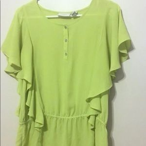 Chicos Green Batwing Elastic Waist Top